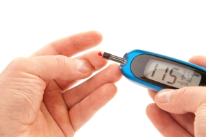 and you direct the blood into the glucometer so it can tell you what your blood sugar is.